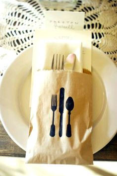 Tablescape ● Place Setting ● unique brown paper bag utensil wrap.