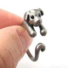 Realistic Puppy Dog Animal Pet Wrap Around Ring in Silver - unique jewelry