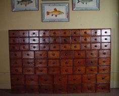 Pine Sixty Eight Drawer Seed Cabinet with Original Knobs, Circa 1860-70