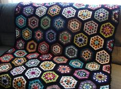 Handmade Crochet Multi-Colored Kaleidoscope Afghan With Black Edging 48 x 68 FREE SHIPPING