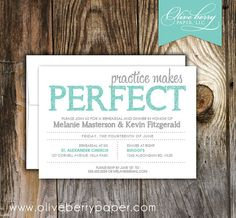 Practice Makes Perfect Rehearsal Dinner by OliveBerryPaper on Etsy, $17.50