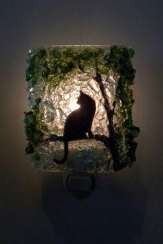 Cat Recycled Glass Night Light