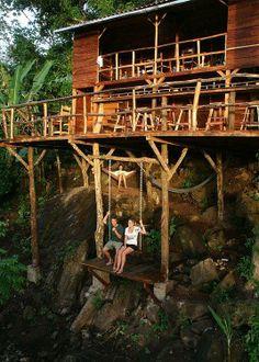 * sunday brunch, cabin, swings, tree houses, treehous, trees, deck, hammock, place