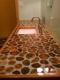 cordwood countertop, garden, guest bathrooms