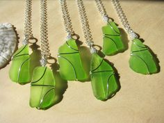 Bridesmaid Jewelry Lime Green Sea Glass by BostonSeaglass