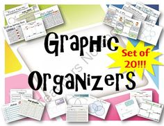 Graphic Organizer Bundle - Set of 20 from The Resourceful Teacher on TeachersNotebook.com -  (21 pages)  - Set of 20 Graphic Organizers