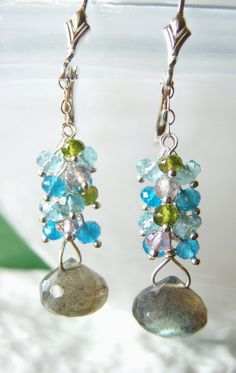 Multigemstone earrings labradorite AA by oneoffcreations on Etsy, $28.00