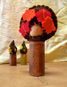 Autumn Waldorf Peg Doll Gnome, Maple Tree