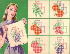 Gingham Kitchen Motifs Embroidery Pattern Set - Vintage 1940's http://tipnut.com/gingham-kitchen-motifs/