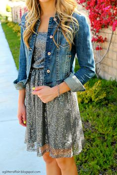 A Glitter Dress! Cute blog! dress with jean jacket. neon nails and curled hair! so cute for summer
