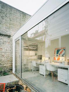 modern + old, glass + brick