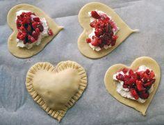 Strawberries, sugar, cream cheese and pie dough