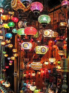 Turkish mosaic glass lamps. Gorgeous! Loved them! If only they weren't so difficult to transport! Although having seen the way the Turks ship them to their retailers piled into huge boxes, maybe they travel well?