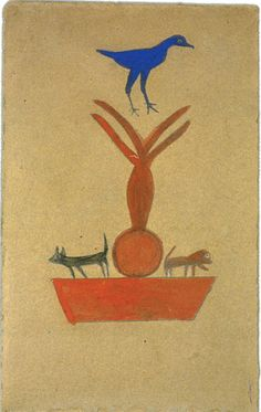 Bill Traylor (1854-1949). Blue Bird, Black Cat and Brown Dog on a Fountain. Poster Paint and Pencil on Cardboard. Circa 1939-1942.