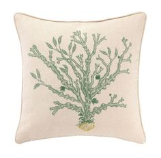 Reef Collection Kelp Embroidered Beach Decor Pillow