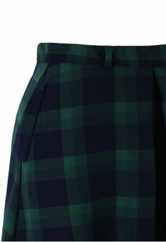 Green Plaid Check Midi Skirt