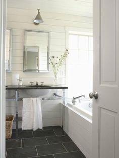 bathroom - walls, slate floors