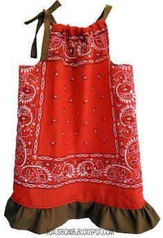 bandana clothing, pillowcas dress, pillowcase dresses, bandana dress, craft challeng, western crafts, bandana crafts, bandana pillowcas, apron