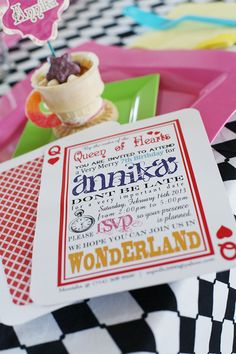 Alice in Wonderland Birthday invitation.  Mad Hatter Party Printables!  http://www.parties4ever.com/2013/05/03/wonderland/