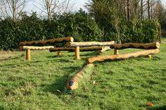 wooden log balance beams