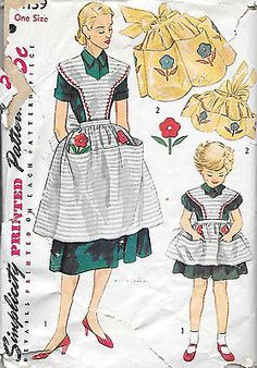 4139 VINTAGE MOTHER DAUGHTER APRON Pattern in 2 STYLES from 1953 Simplicity