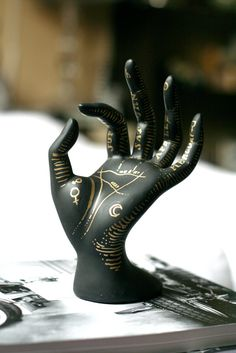 Hand Painted Astrological Palm Reading Hand Display