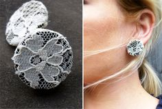 Take a button, cover it with lace, and hot glue an earring post to the back.  Brilliant!