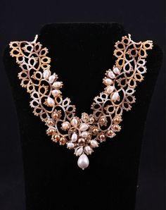 Tatted Lace Victorian jewelry Tatting Vintage style Pearl Necklace V-neckline Openwork by DASH Art Studio (WJ11-2)