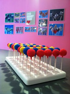 Colorful cake pops by Lil Cutie Pops in a KC Bakes' Mega Stand.