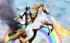 Cat Riding a Fire-breathing Unicorn wallpaper