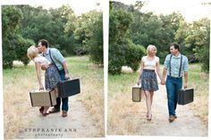 . destinations, idea, vintage suitcases, dates, engagements, vintag suitcas, engag photo, vintage finds, destination weddings