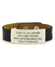 Look at this #zulilyfind! Black 'Philippians 4:13' Leather Cuff #zulilyfinds