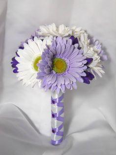 Daisy Wedding Bridal Bouquet Groom Boutonniere by TheWeddingPetal, $84.95