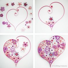 quilling diy, paper, daughters room, quill heart, flower power, flower tutorial, craft ideas, flower patterns, quilling heart