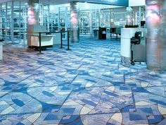 Milliken carpet tiles look like stained glass