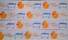 3 yards 7/8 Ducky Tub bubbles Splish splash white Grosgrain Ribbon blue yellow Scrap booking Baby Shower invitations hair clip bows Duck. $3.99, via Etsy.