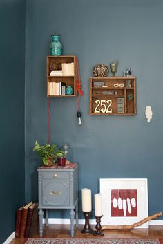 Turn drawers into shelves wall colors, room colors, color blue, blue green, office colors, paint colors, shelv, wall colours, drawer