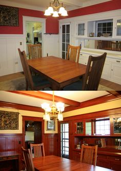 Laurelhurst Craftsman Bungalow: Dining Room is finally finished. It took a little while to finish the minor details, but we're done. (The top picture is the before, the bottom after. Yes, we stripped and stained the wood.)