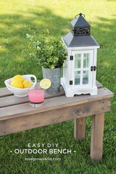 Add extra seating to your space with this beautiful and easy DIY Outdoor Bench! | Tutorial at LoveGrowsWild.com