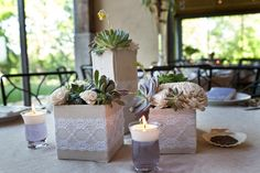 lace wrapped floral arrangements #shabby chic wedding
