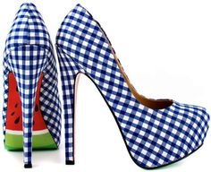 #Blue #Gingham #Melon #Heels summer picnic, fashion, blue, heel, picnics, woman shoes, pump, watermelon, taylors