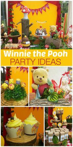 birthday parties, winnie the pooh birthday ideas, cake pops, beehiv cupcak, parti idea