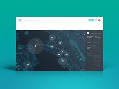 Helium Map Dashboard User Interface | Flat UI Design #area #map