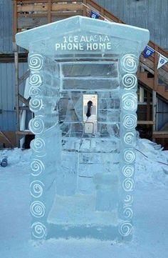 Ice phone booth in Alaska
