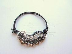 $35 bracelet layer, statement bracelet, bracelets, chains, leather statement, mix chain, layer mix