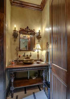 Old World Style Powder Room - Love the copper bowl sink...