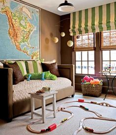 I always wanted a Vintage Map of the United States.  Cool use of art in this play room