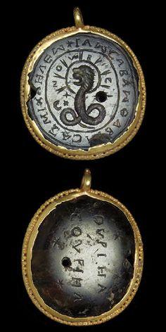 Gold and Heliotrope pendant. C. 3rd-4th Century Roman.