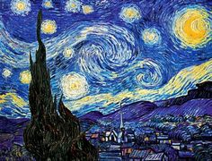 Vincent Van Gogh - Starry Night modern art, vans, blue, paint, artist, vincent van gogh, artwork, starri night, starry nights