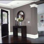Dark wood. Gray walls. White trim.LOVE this!!!!!!!